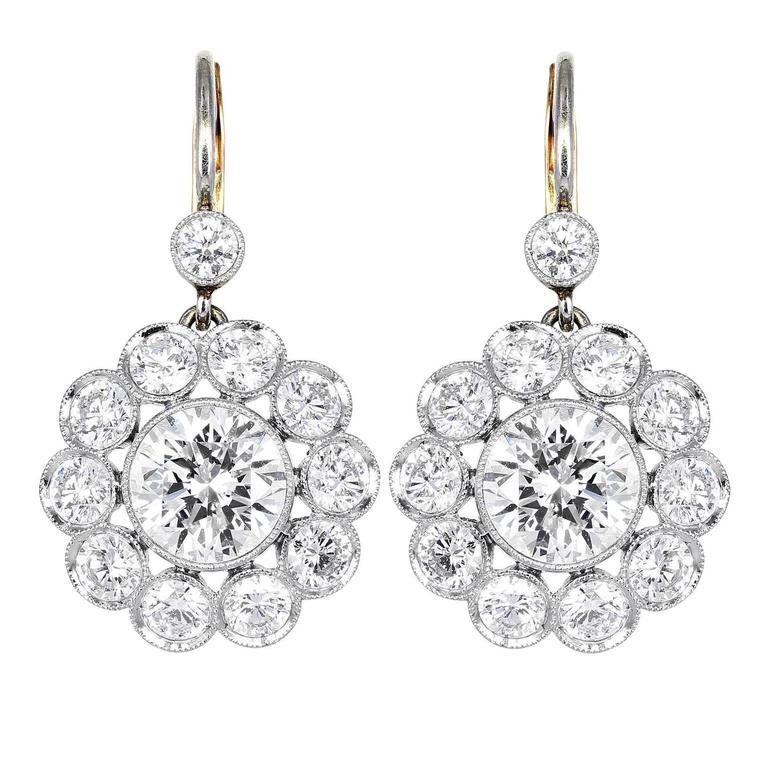 6.18 Carats Diamonds Gold Platinum Cluster Earrings