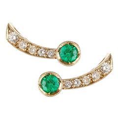 Sabine Getty Emerald Diamond Harlequin Stud Earrings