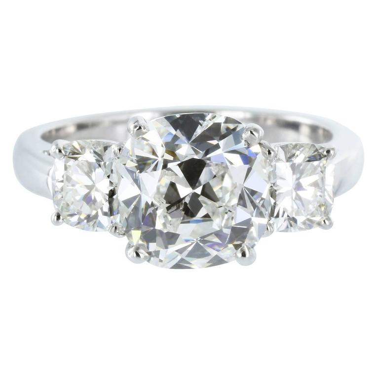 2 36 Carat G SI1 GIA Certified Cushion Cut Diamond Platinum Engagement Ring F