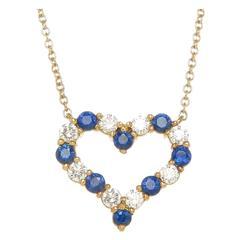 Tiffany & Co. Sapphire Diamond Gold Heart Pendant