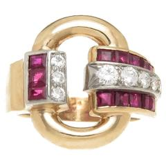 Tiffany & Co. Ruby Diamond Gold Retro Ring