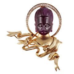 Carved Amethyst Diamond Gold Buddha Enhancer