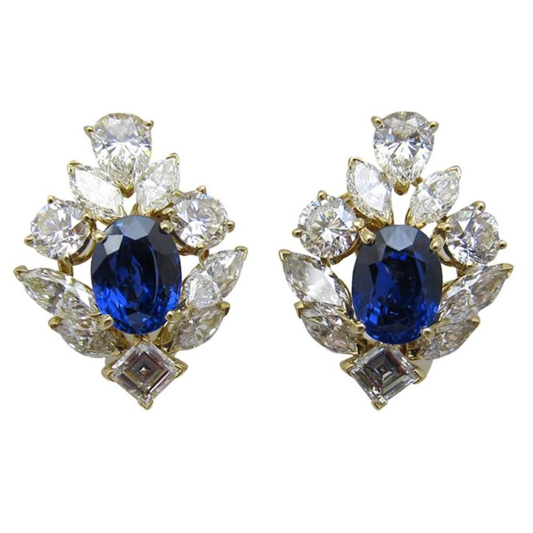 Superb!!! Cartier- Paris  sapphire and diamond clip on earrings.  Centering two oval-shaped sapphires weighing 3.83 and 3.01 carats, Sapphires are certified by American Gem Lab Origin:           Burma Description:   No Heat & No clarity