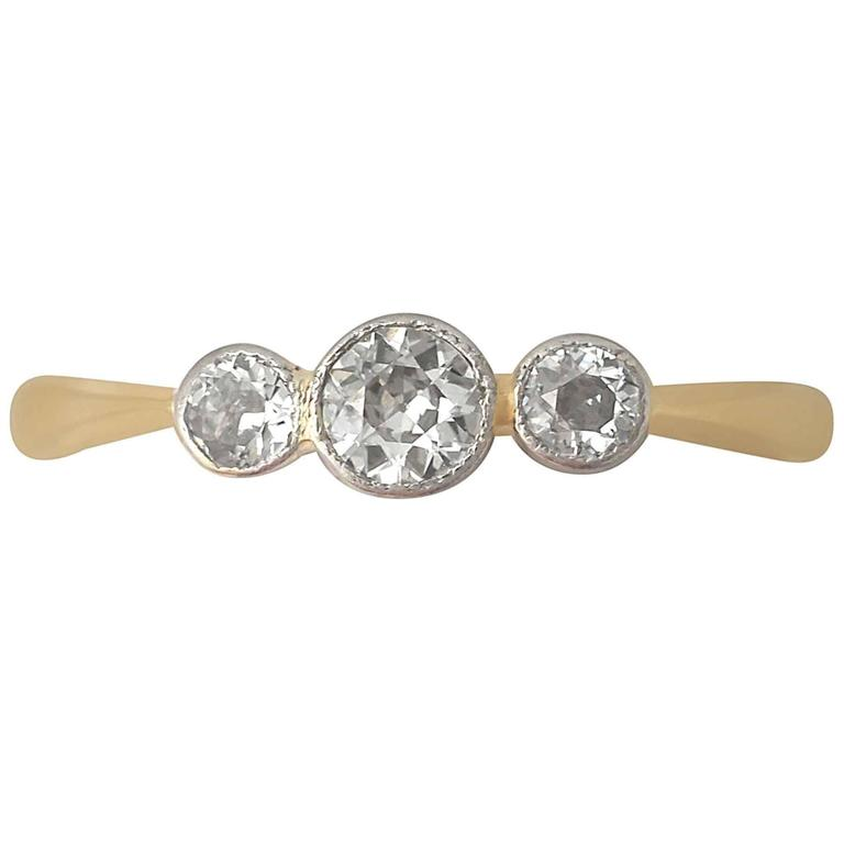1920s Antique Diamond and Yellow Gold Trilogy Ring