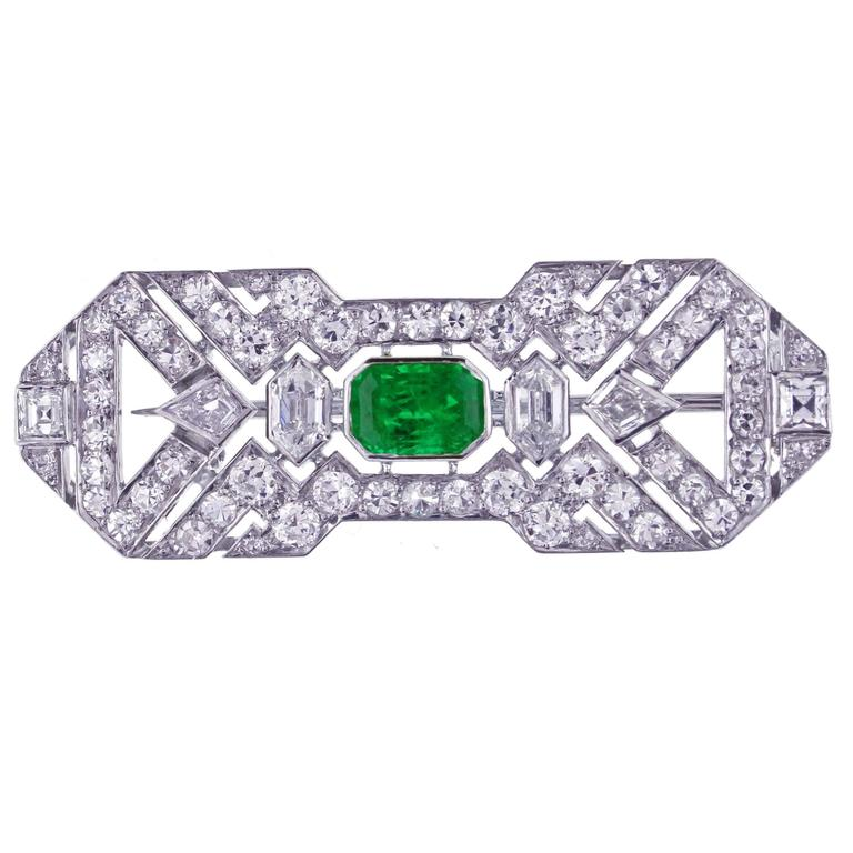 Art Deco French Emerald Diamond Brooch