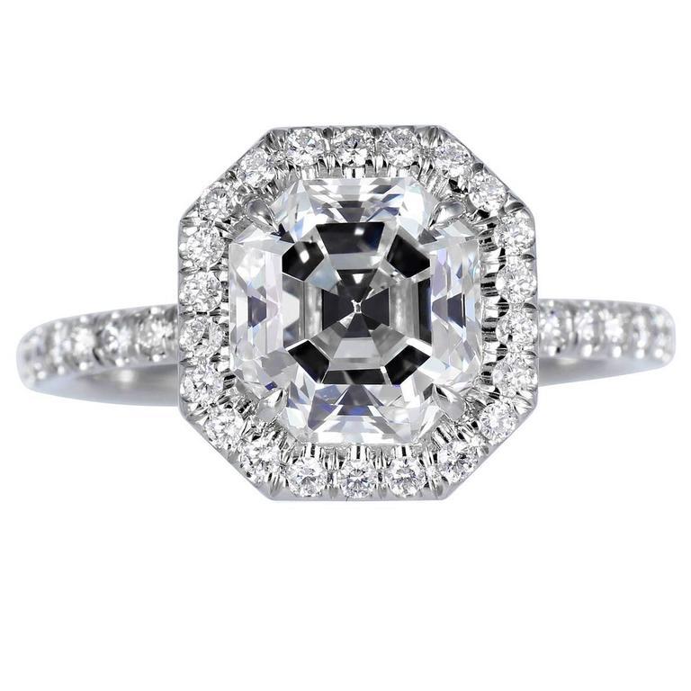 2.37 Carat GIA Cert Asscher Cut Diamond Platinum Halo Ring For Sale