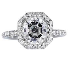 2.37 Carat GIA Cert Asscher Cut Diamond Platinum Halo Ring