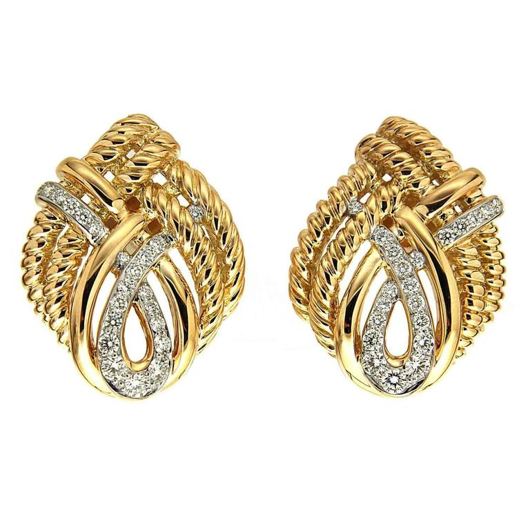 Diamond Gold Four Line Twist Earrings