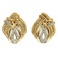 Diamond Gold Four Line Twist Earrings