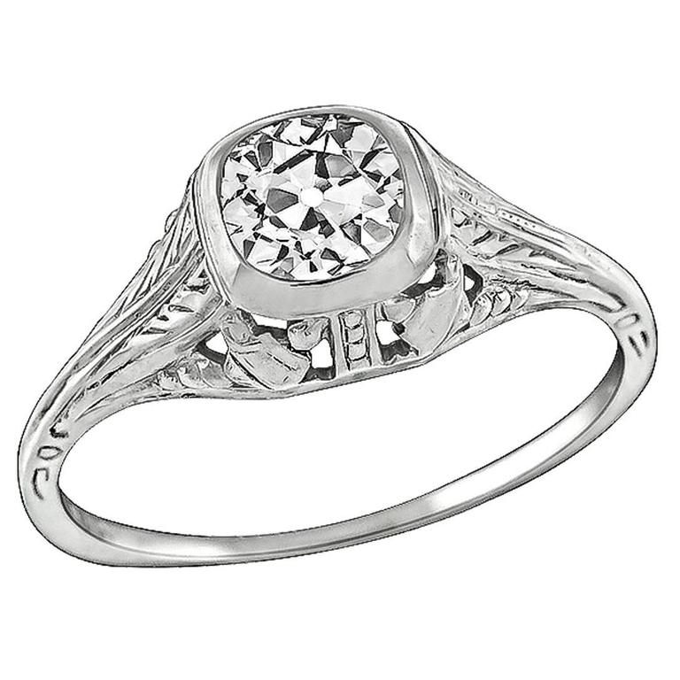Charming .54 Carat GIA Cert Diamond Gold Engagement Ring For Sale