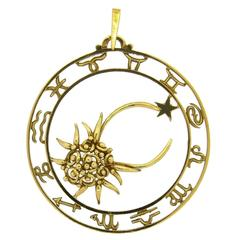 French Gold Cancer Crab Zodiac Pendant