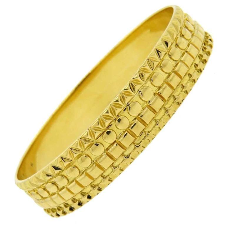 Solange Azagury Partridge Gold Patterned Bangle Bracelet 1