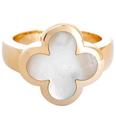 Van Cleef & Arpels Pure Alhambra White Mother-of-Pearl Gold Ring