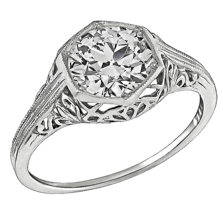 Edwardian 1.38 Carat GIA Cert Diamond Platinum Engagement Ring