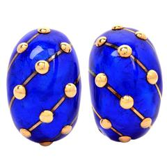 Tiffany & Co. Jean Schlumberger Enamel Gold Banana Clip Earrings