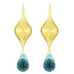 Ray Griffiths Blue Topaz and Crownwork Earrings