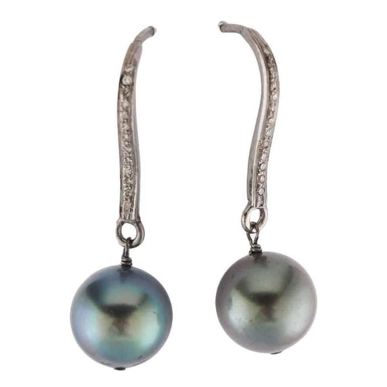 Black Pearl Diamond Silver Drop Earrings