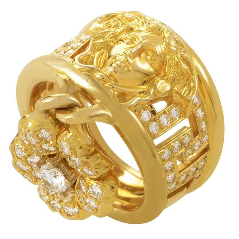 Versace Diamond Gold Medusa Band Ring With Flower Charm For