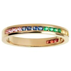 TPL Gold Coloured Sapphire Emerald Half Eternity Ring