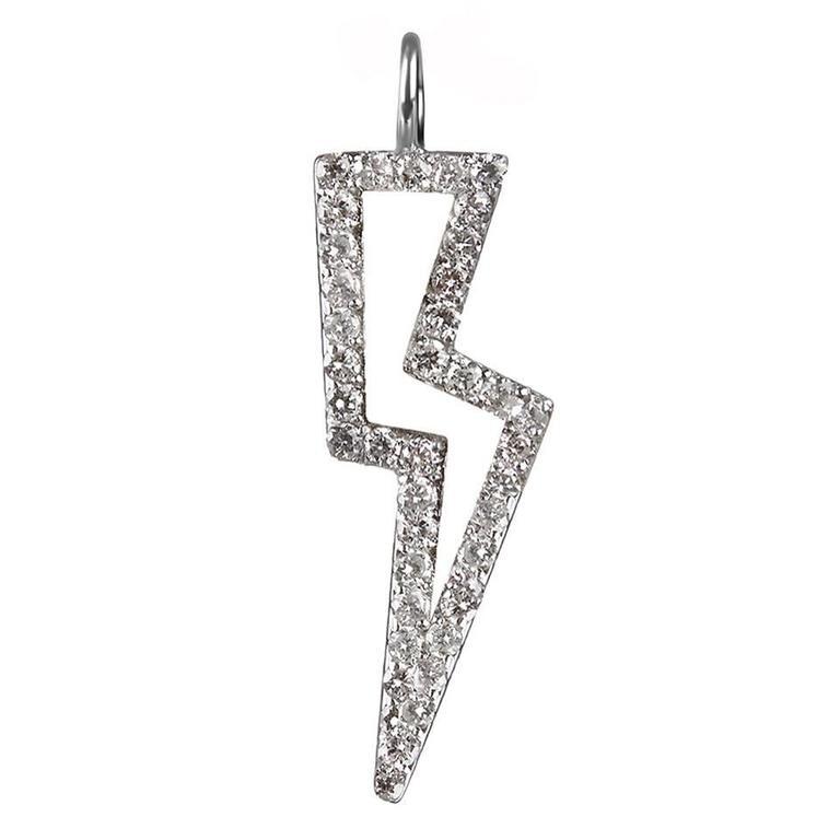 TPL Silver Diamond Lightning Bolt Charm