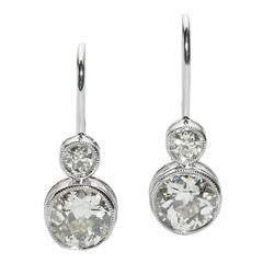 2.15 Carats Diamonds Platinum Drop Earrings