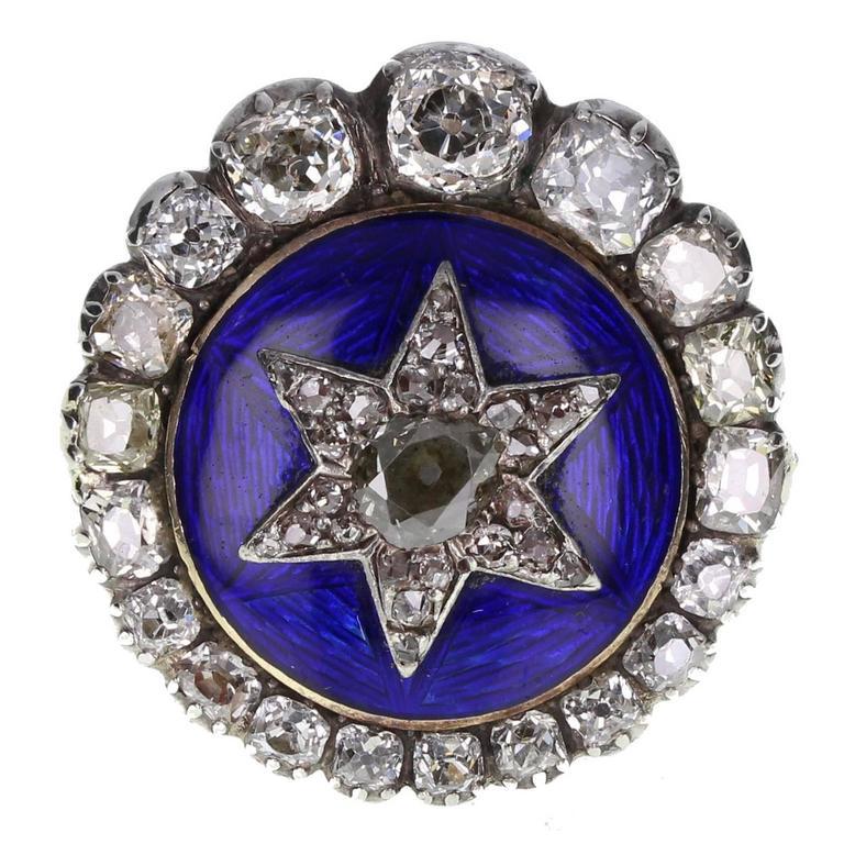 Antique Victorian Blue Enamel Diamond Silver Gold Ring