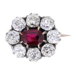Antique Thai Ruby Old Cut Diamond Silver Gold Brooch