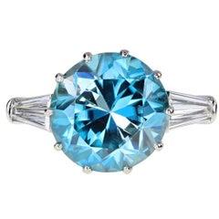 Blue Zircon Gold Platinum Solitaire Ring