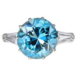 Blue Zircon Gold Platinum Solitaire Ring