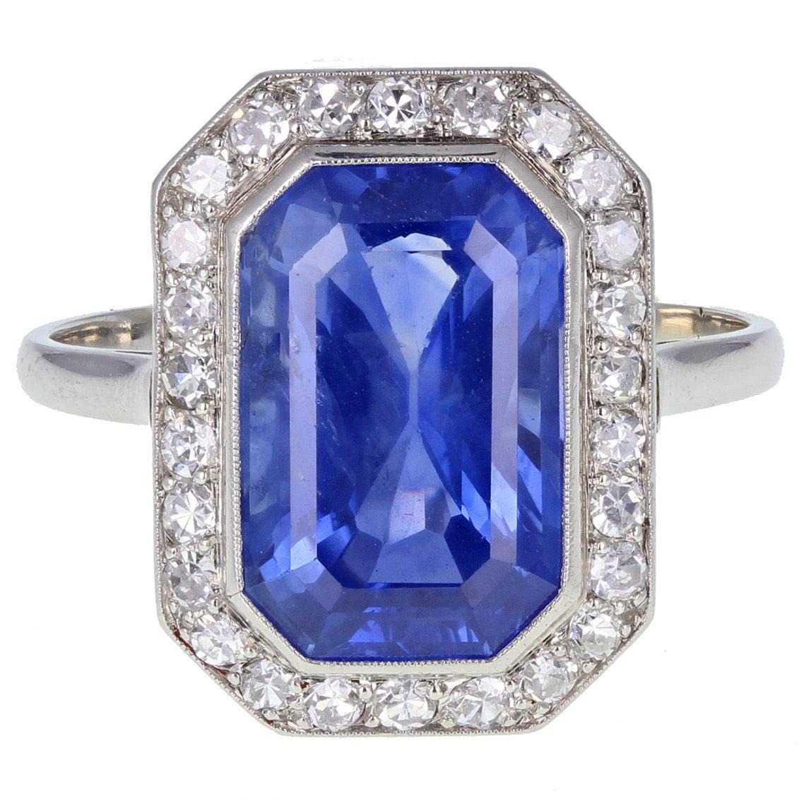 Art Deco Emerald Cut No Heat Ceylon Sapphire Diamond Cluster Ring