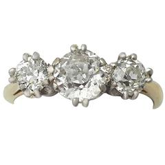 1.83Ct Diamond and 18k Yellow Gold Trilogy Ring - Antique and Vintage