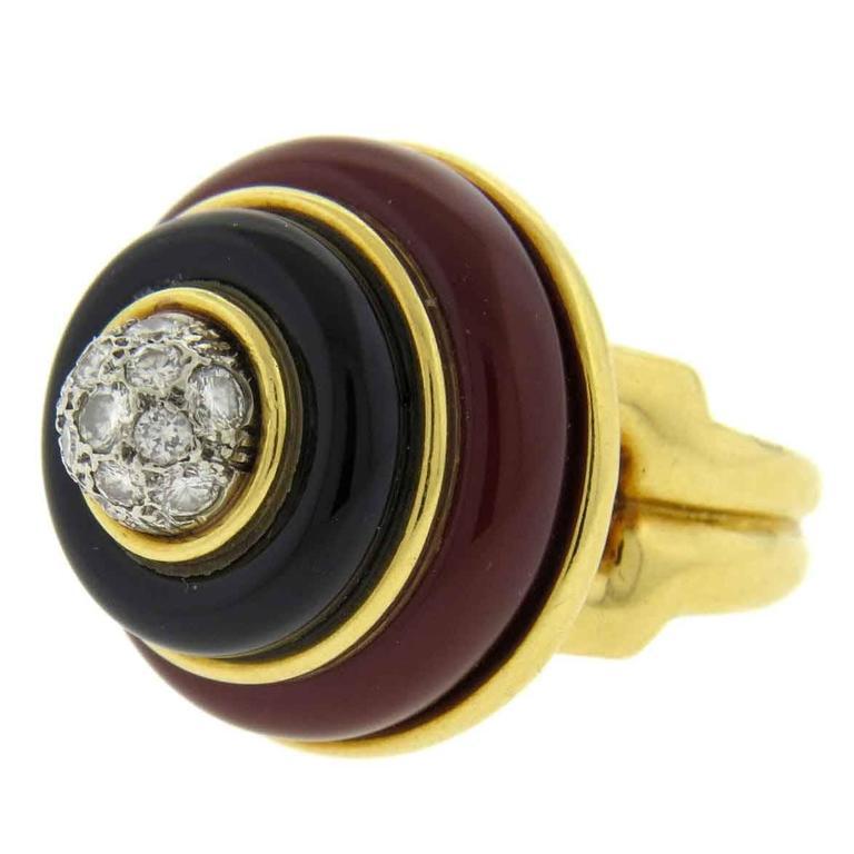 Tiffany & Co. Carnelian Onyx Diamond Gold Ring