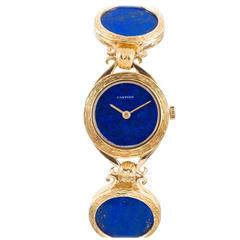 Cartier Rare Lady's Yellow Gold and Lapis Lazuli Bracelet Watch circa 1972