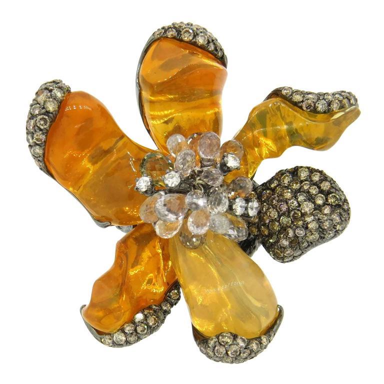 Impressive Arunashi Fire Opal Sapphire Diamond Gold Large Wild Orchid Ring