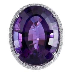 22.70 Carat Amethyst Diamond Gold Ring