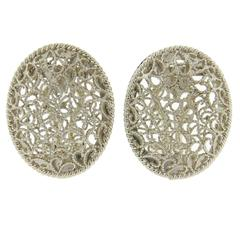 Buccellati Filidoro Silver Oval Openwork Earrings
