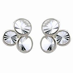 Antonio Bernardo Prism-Cut Rock Crystal Gold Triple Stud Earrings