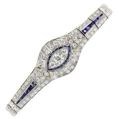 High Quality Art Deco Sapphire Diamond Platinum Bracelet featuring 10 carats