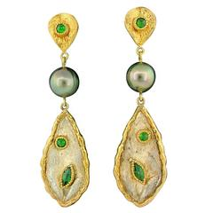 Victor Velyan Chrome Diopside Tahitian Pearl Silver Gold Earrings