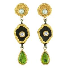 Victor Velyan Peridot Pearl Sapphire Gold Earrings