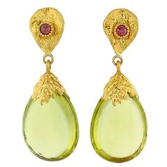 Victor Velyan Lemon Quartz Pink Sapphire Gold Drop Earrings