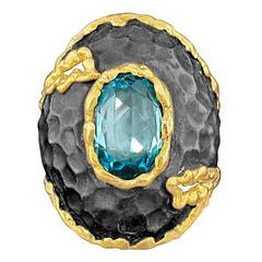 Victor Velyan Blue ZIrcon Silver Gold Ring