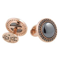 Rotor Hematite Black and White Diamond Gold Cufflinks