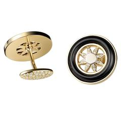 Black Onyx White Diamond Gold Spinning Wheel Cufflinks