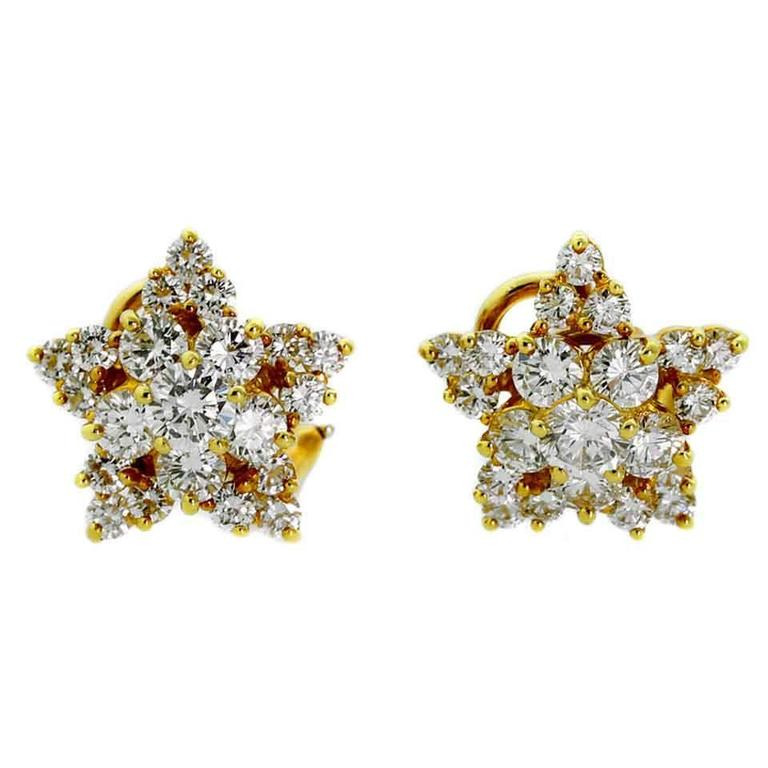 Tiffany & Co. Diamond Gold Star Earrings