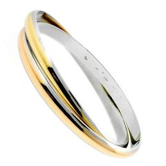 Cartier Interlocking Stainless Steel Gold Bangle Bracelet