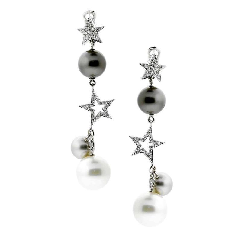 Chanel Comete Pearl Drop Diamond Gold Earrings