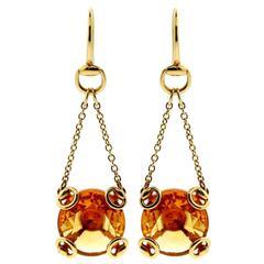 Gucci Citrine Gold Horsebit Earrings