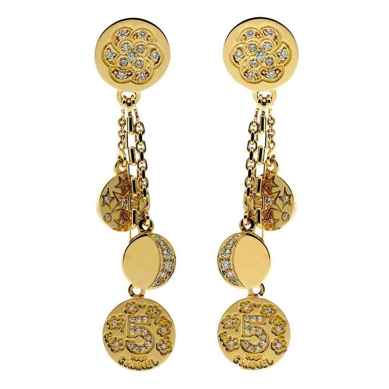 chanel diamond gold charm earrings for sale at 1stdibs