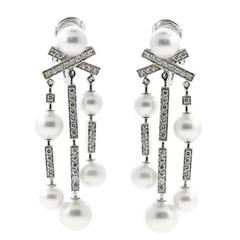 Chanel Pearl Diamond Gold Matelasse Earrings